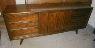 Rare Mid Century Modern Danish United Furniture Walnut Credenza Dresser & Mirror photo