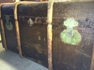Brown Antique Trunk From The Turn Of The Century photo