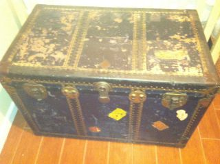 Condition,  Antique Trunk.  Hand - Made In Fall River,  Massachussetts photo