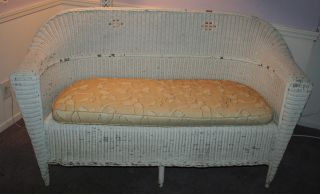 Antique Shabby White Woven Wicker Settee,  Love - Seat,  Couch,  Chaise photo