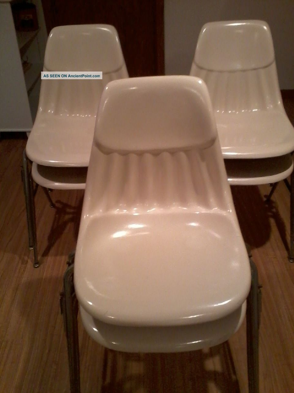 Fiberglass Shell Eames Style Side Chair Set Of 6 Stacking Side Chairs Post-1950 photo