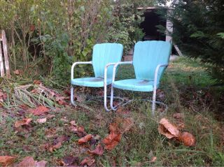 Vintage 50s Style Metal Lawn Chairs,  Patio Furniture,  Outside Garden photo