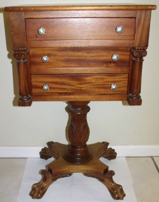 Rare Antique Chest 3 Drawers Atop Carved Single Pedastal With Lion Claw & Wheels photo