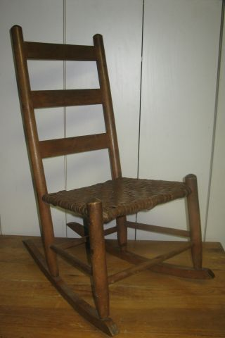 Vintage Ladder Back Porch Rocking Chair With Cane Woven Seat photo