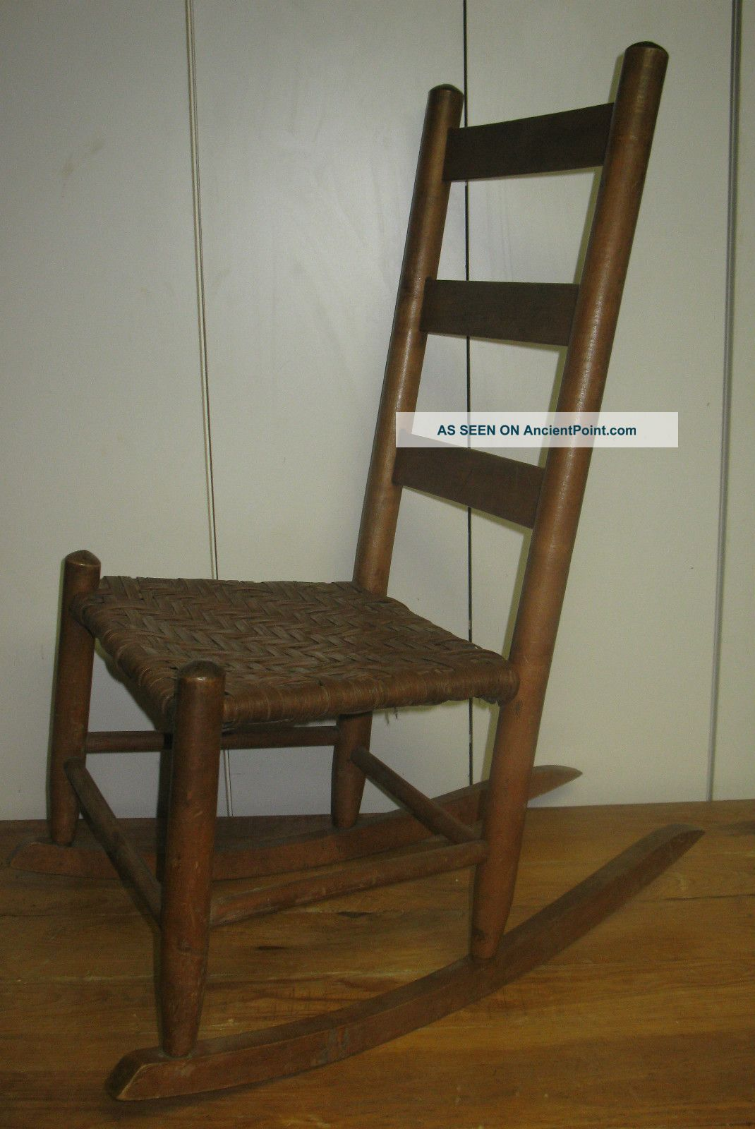 - Vintage Ladder Back Porch Rocking Chair With Cane Woven Seat