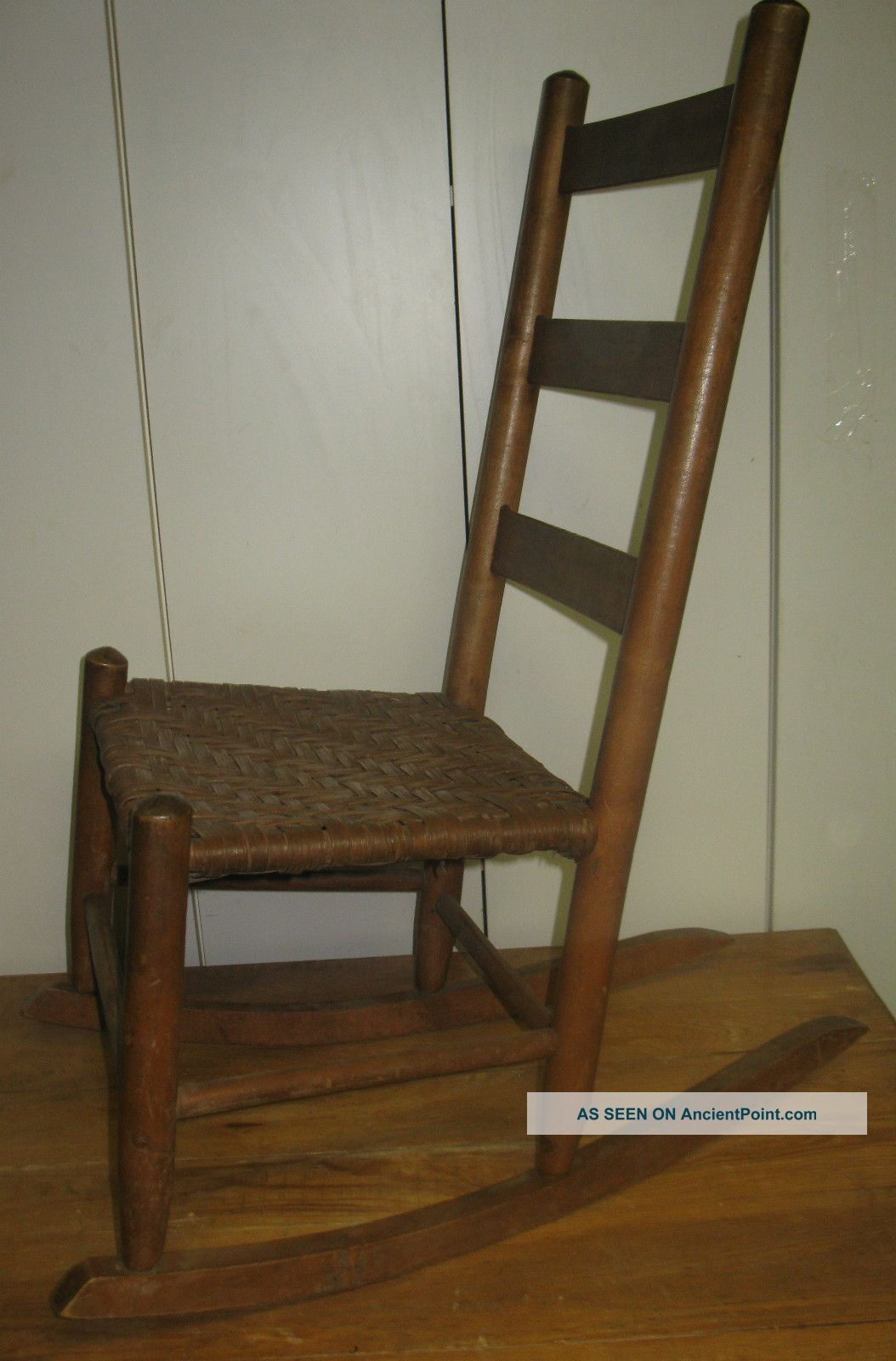 Vintage Ladder Back Chairs with Woven Seats