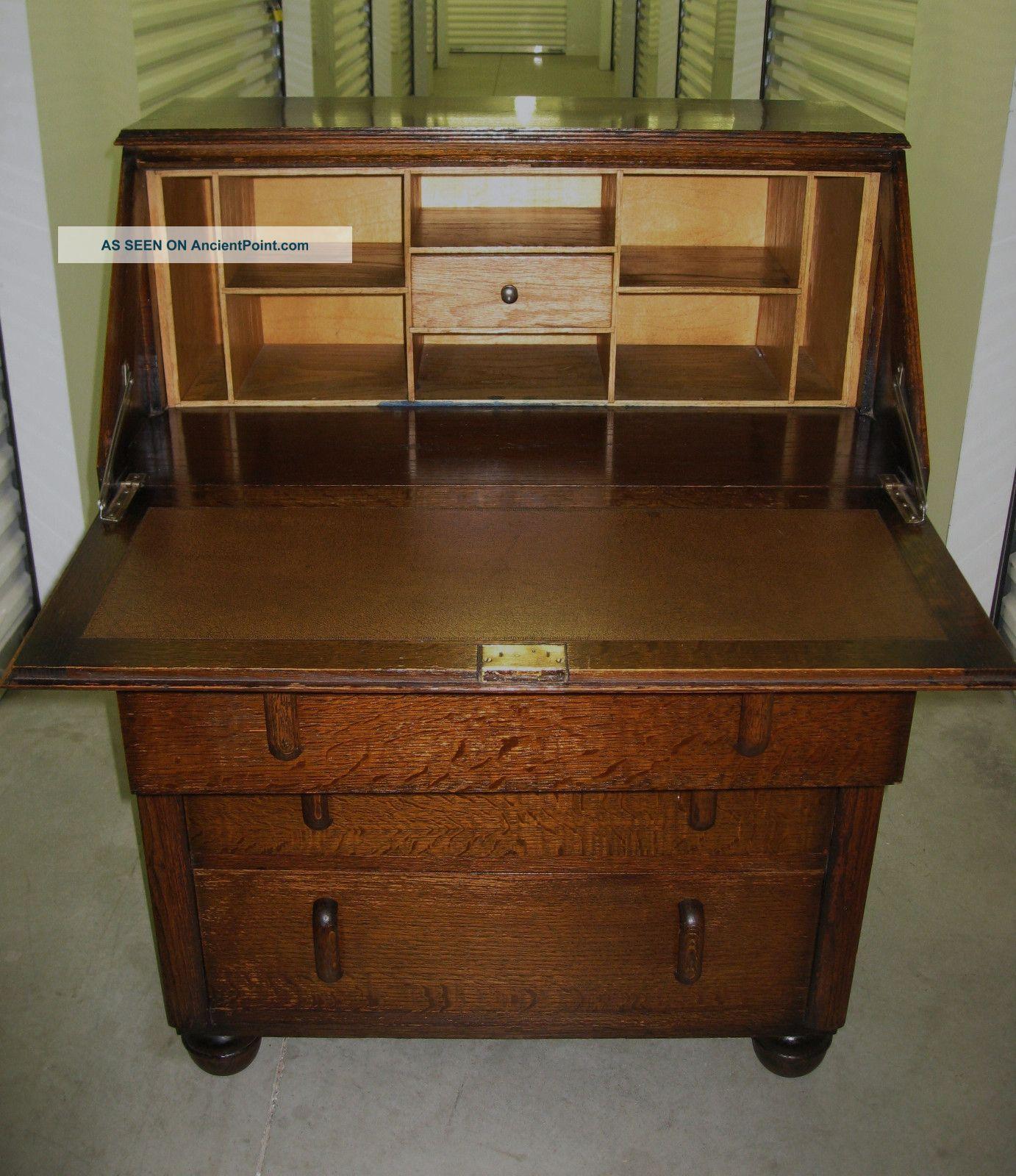 Antique Art Deco Tiger Oak Wood Secretary Bureau Drop Front Desk Cabinet 1800-1899 photo