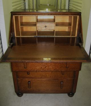 Antique Art Deco Tiger Oak Wood Secretary Bureau Drop Front Desk Cabinet photo