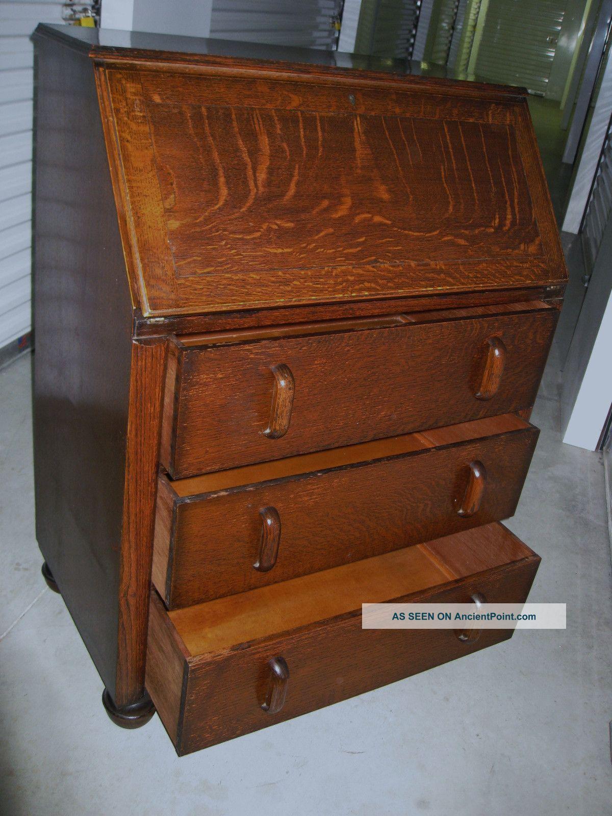 Antique Art Deco Tiger Oak Wood Secretary Bureau Drop Front Desk Cabi - Antique Drop Front Desk - Image Antique And Candle Victimassist.Org