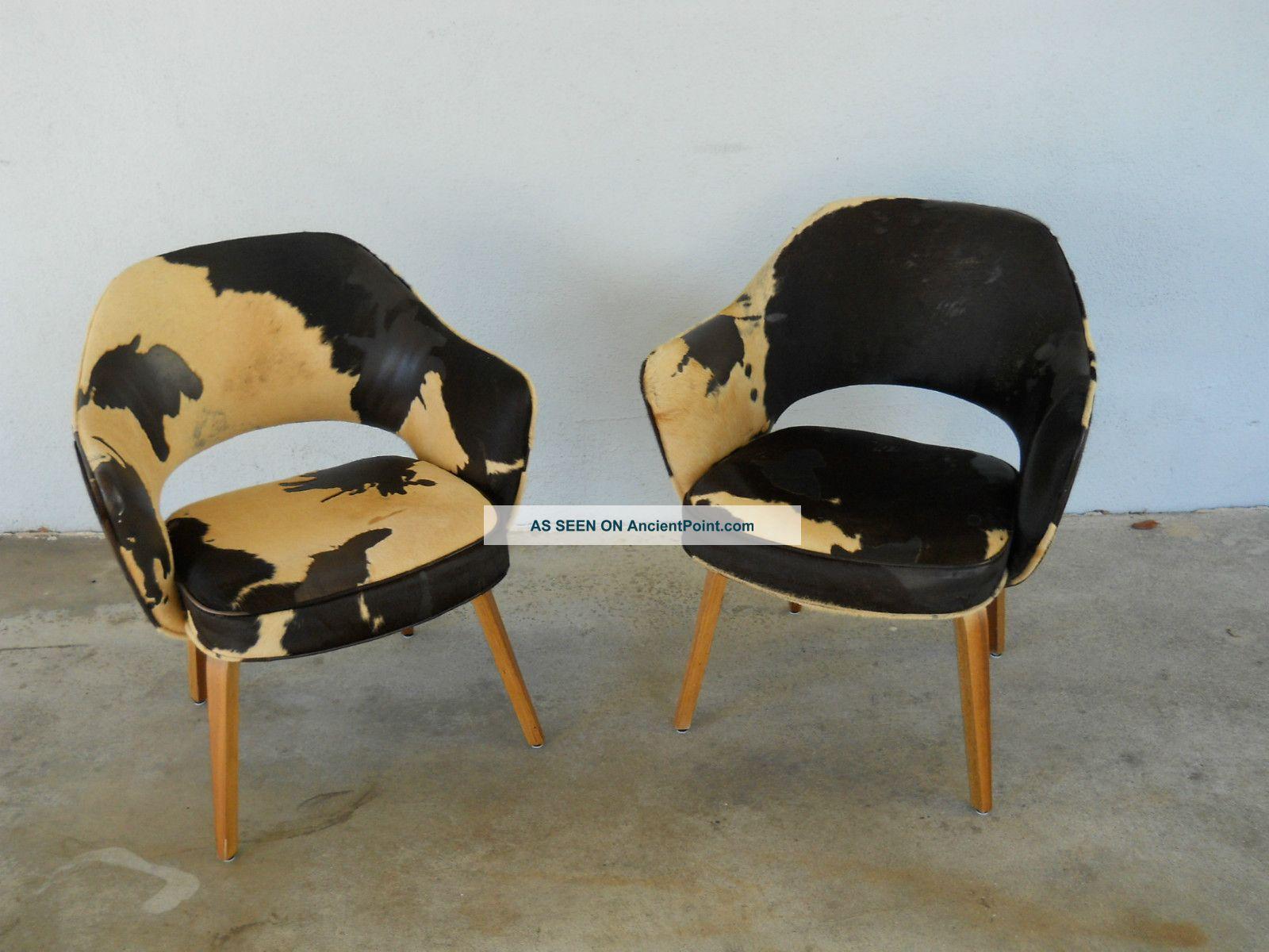 Pair Eero Saarinen Knoll 71 Arm Chairs Wood Legs Amazing Italian Hides Post-1950 photo