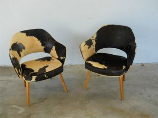 Pair Eero Saarinen Knoll 71 Arm Chairs Wood Legs Amazing Italian Hides photo