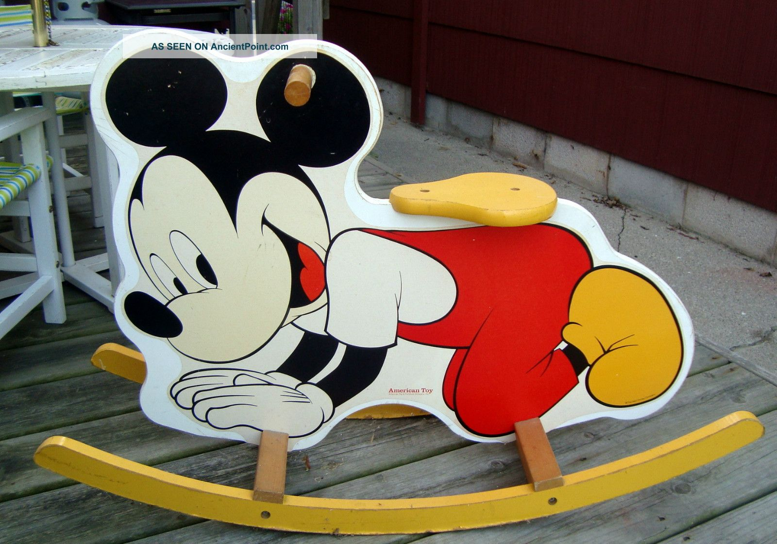 Vintage American Toy Maker Childs Mickey Mouse Wooden Rocker Post-1950 photo