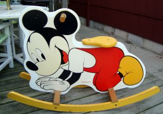 Vintage American Toy Maker Childs Mickey Mouse Wooden Rocker photo