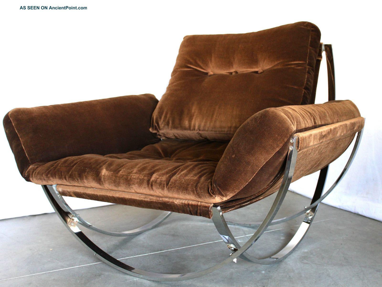 Mid Century Italian Stendig Chrome Lounge Chair Not Rocking Milo Baughman Eames Post-1950 photo