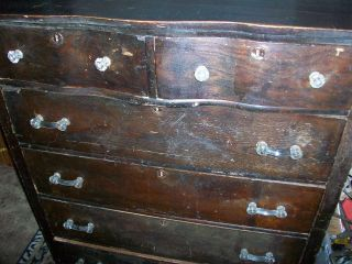 Antique 6 Drawer Solid Ash Dresser W/key photo
