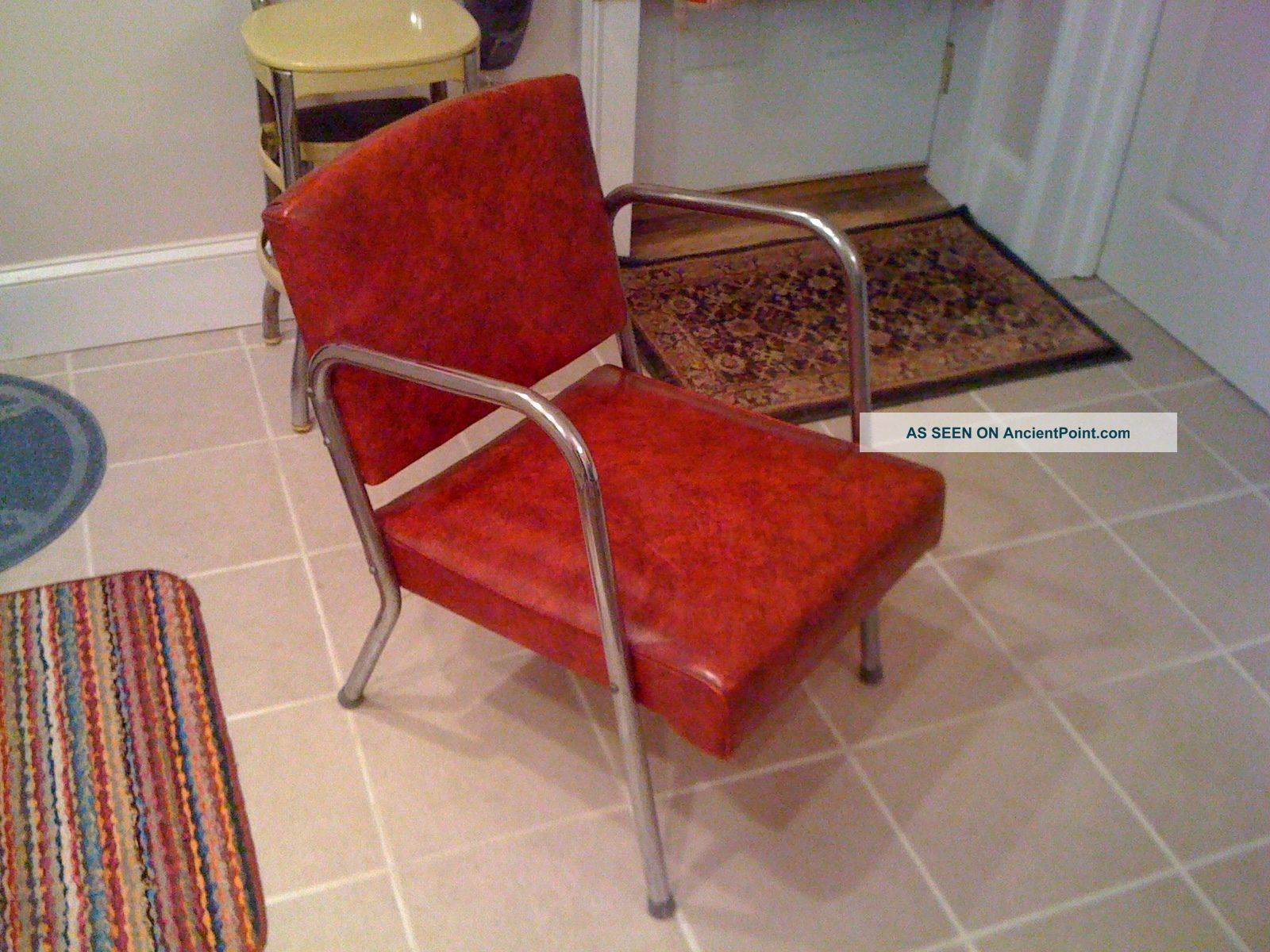 Mid Century Modern 1950s Chrome Chair Red Vinyl Jet Age ' 50s Deco 1950 ' S 50 ' S Post-1950 photo