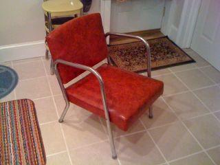 Mid Century Modern 1950s Chrome Chair Red Vinyl Jet Age ' 50s Deco 1950 ' S 50 ' S photo