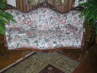 Antique Victorian Pierced Carved Walnut Sofa Possibly Belter Mint Condition photo