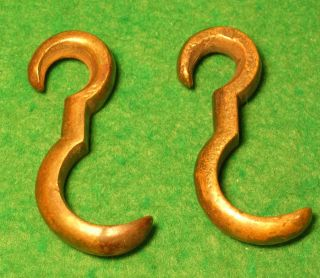 Extremely Rare Pr 18th Century Brass Bed Hooks photo