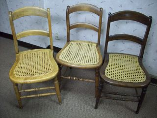 Three Antique Ladder Back Dining Room Chairs Cane Seat Refinished Simiilar  Photo
