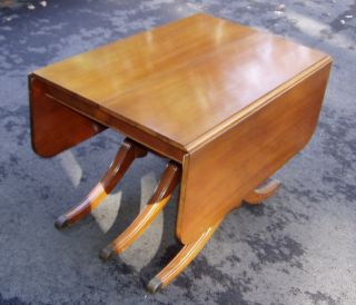 Mahogany Duncan Phyfe Drop Leaf Dining Table With Pads And 4 Chairs photo