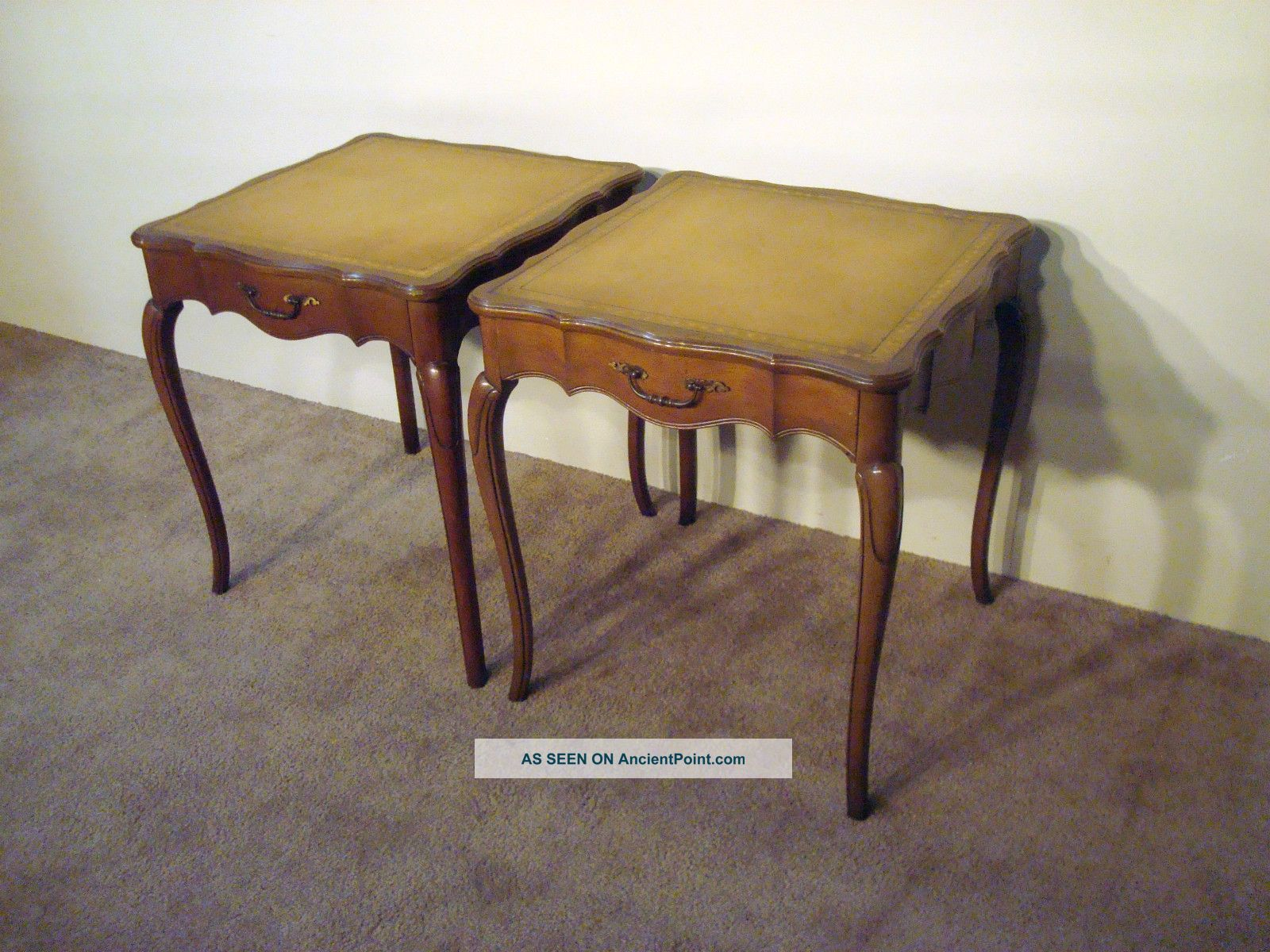 Stickley Country French Cherry Leathertop End Or Side Tables Post-1950 photo