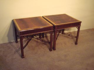 Pair Henredon Rittenhouse Flame Mahogany Chippendale End Side Tables photo