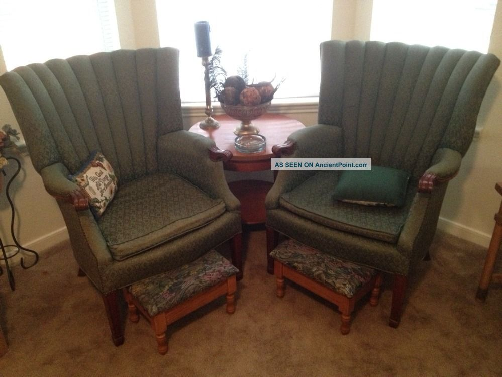 Antique Tapestry Wingback Chairs Post-1950 photo