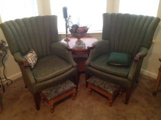 Antique Tapestry Wingback Chairs photo