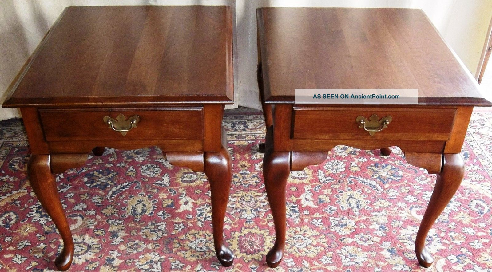 Lenoir Cherry Queen Anne Side End Tables  Drawers Pair 1 Lgw.jpg. Full resolution‎  photo, nominally Width 1600 Height 885 pixels, photo with #A55526.