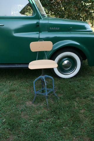 Vintage Toledo Drafting Industrial Metal Plastic Chair Stool Machine Age Blue photo