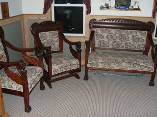 Antique Carved Mahogany Lions Head,  Wings Paws Settee,  Chair & Rocking Chair Set photo