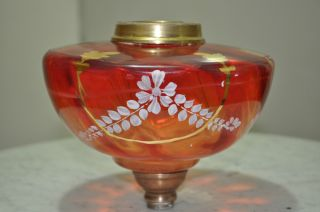Victorian Ruby Red Oil Lamp Fount/bowl/reservoir photo