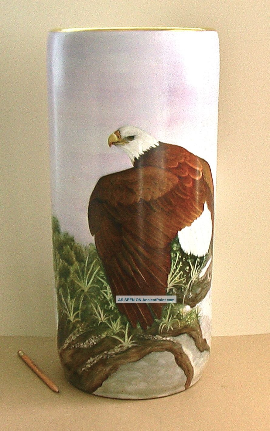 Bald Eagle Hand - Painted Porcelain Umbrella Stand Painting Signed Hawley Hp Vase Post-1950 photo