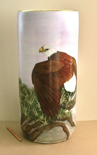 Bald Eagle Hand - Painted Porcelain Umbrella Stand Painting Signed Hawley Hp Vase photo