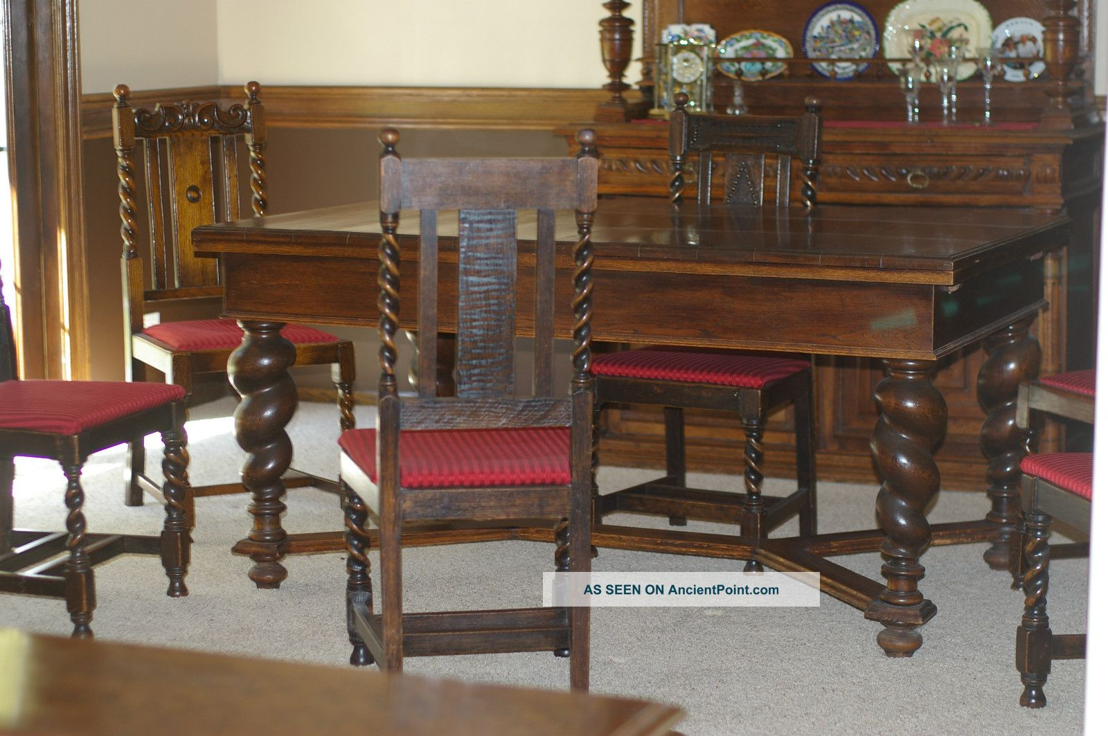 Antique Solid Oak Jacobean Barley Twist Refactory/dining Table/6 Chairs Pre 1879 1800-1899 photo