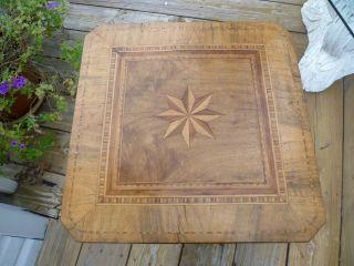 Unusual Fancy Veneered Inlay Side/end Table Candlestand,  Versatile Piece,  Look photo
