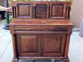 Magnificent Flame / Burled Mahogany Empire Desk photo