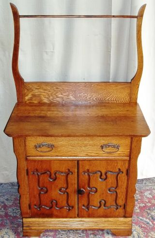 Antique Oak Washstand/ Small Dressser With Towel Rack Engraved Doors photo