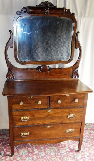 Antique Large Oak 2 Over 2 Drawer Dresser With Tall Framed Tilt Mirror,  Carving photo
