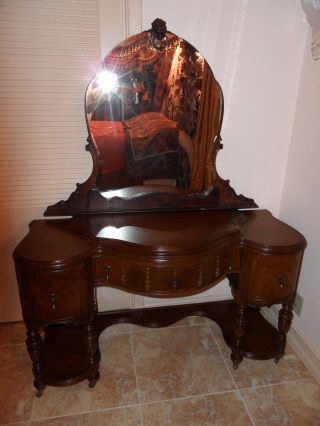 Antique Vanity Burl Wood & 3 Drawers With Mirror photo