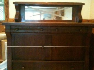 Antique Empire Style Oak Sideboard/serv​er Buffet W/ Beveled Mirror photo