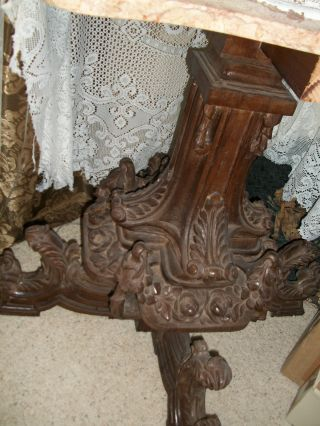 Beautifully Hand Carved Solid Oak Large Table Base From Italy,  1900 ' S Or Earlier photo