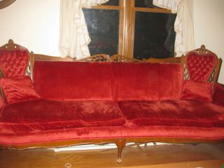 Antique Sofa Red Velvet For Victorian Parlor photo