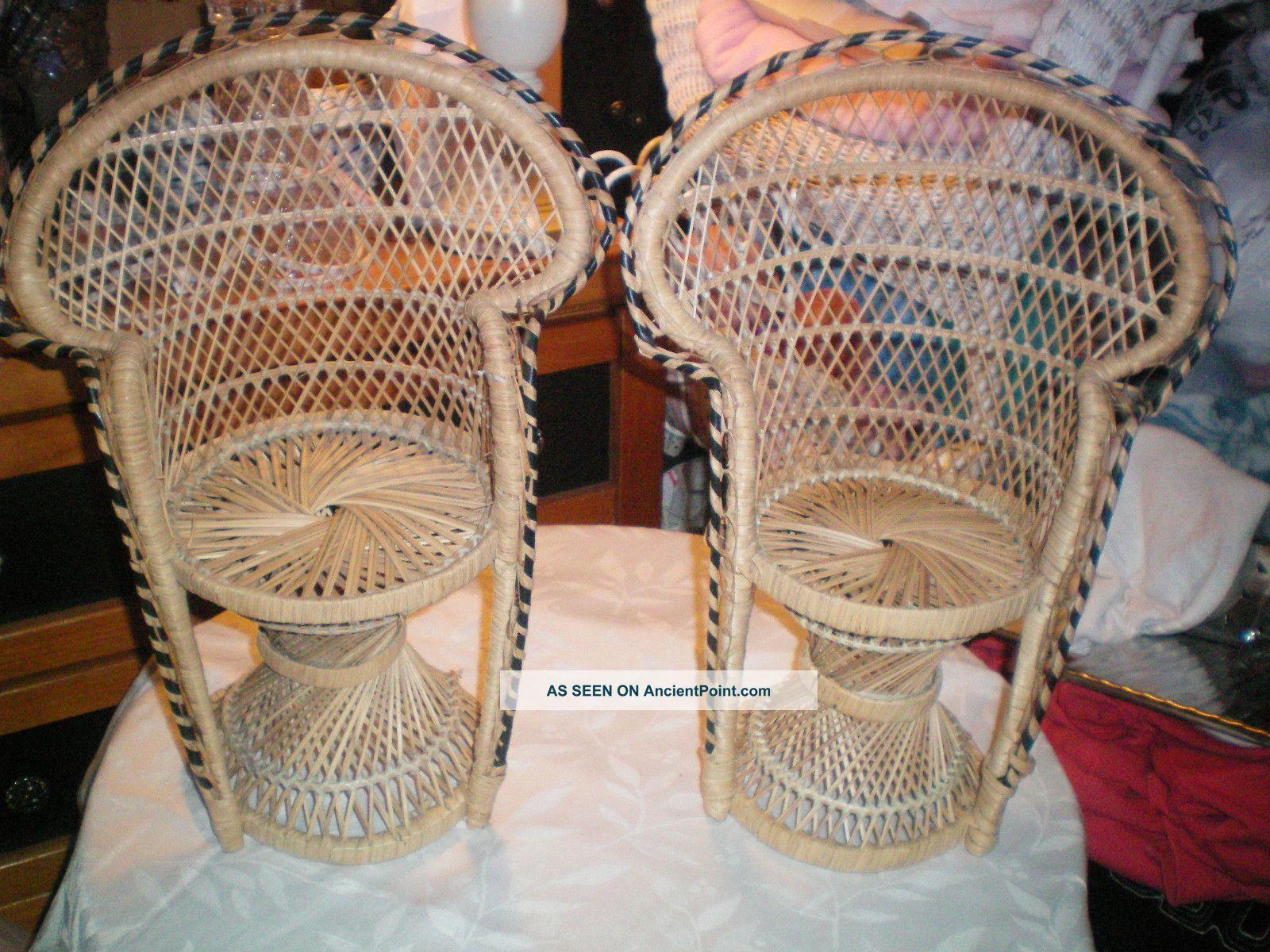 Set Of 2 Hollywood Regency Fan Back Peacock Wicker Doll Chairs Post-1950 photo