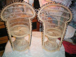 Set Of 2 Hollywood Regency Fan Back Peacock Wicker Doll Chairs photo
