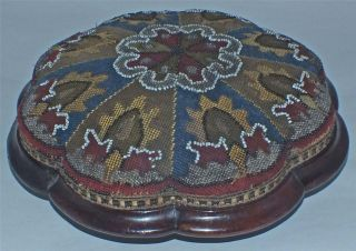 Victorian Top Quality Solid Walnut Beadwork Tapestry Foot Stool photo