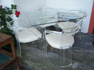 Rare Vtg Eames Modern 5pc Set Charles Hollis Jones Bent Lucite Arm Chairs&table photo