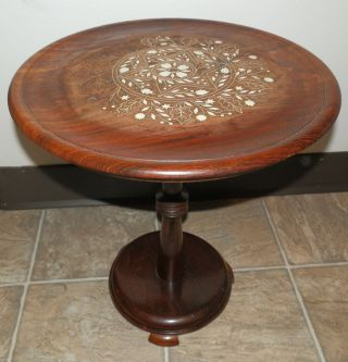 Vintage Hand Carved Bone Inlay Round Wood Pedestal Table Plant Stand Home Decor photo