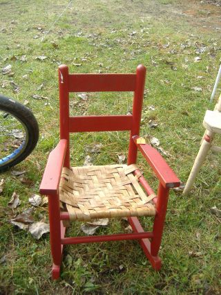 Red rocking chair toddler antique photo